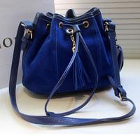 women's fashion handbag  lady one shoulder cross-body vintage stylish ladies nubuck leather bucket tassel bags