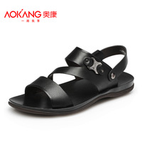 AOKANG sandals new arrival casual male sandals male sandals trend genuine leather breathable sandals male shoes