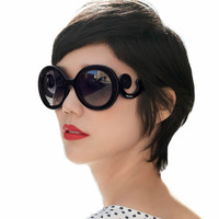 1pcs Spoondrifts butterfly wings baroque ruslana korshunova fashion round glasses sunglasses women's vintage circle sunglasses