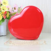 Women's heart handbag sweet heart bags one shoulder cross-body chain japanned leather