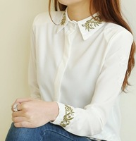 2013 Korean style girl's blouse embroidery Gold thread baroque flower basic turn-down collar Elegant  sweet  shirt
