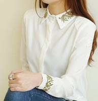 2013 Korean style girl's blouse embroidery Gold thread baroque flower basic turn-down collar Elegant  sweet  shirt