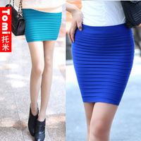 2013 summer new style wrinkle wear method A line hip skirt Variety style super-elastic thin Slim skirts free shipping