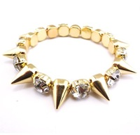 free shipping hotsale 2013 new design punk spike rivet bracelet gold with rhinestone size 5,3cm