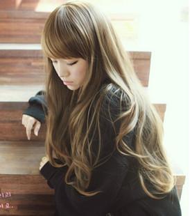 ふわふわ斜め前髪の長い巻き毛の長い巻き毛のかつら袋ガールナチュラルつけかつら