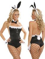 Lush Black Back to Crotch Zipper Sexy Bodysuit For Women LC9168 Cheap Price Drop Shipping women adult fox costumes