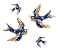 Charming Lovely Cute BJ Silver Swallow Bird Rhinestone Eye American Earring Ear Stud 6Pairs/lot