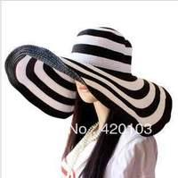 fashion Women Classical Stripe Zebra Floppy Straw Wide 17CM Brim Beach Hat Sun Cap #5136