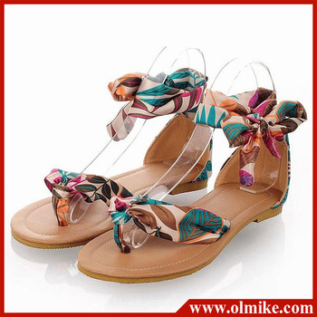 Wholesale price 2013 summer women's ethnic casual silk surface Floral sandals for lady foot ring straps flower shoes 34 -43 S020