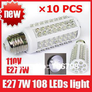 X10PCS Ultra Bright 6000-6500k E27 7W 110V 108 LED Light Bulb Corn light LED Lamp Drop shipping free shipping