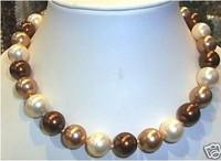 Fashion Jewelry 12mm Multicolor Sea Shell Pearl Necklace