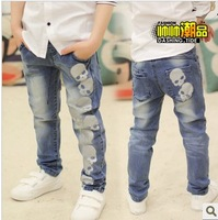 Korean Kids Skull Print All-Match  Boys Jeans Boy Trousers Handsome Boys Must FREE SHIPPING Boths retails and wholesale
