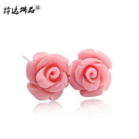 Acessórios brincos flor do parafuso prisioneiro brinco requintado resina flor rosa brincos do parafuso prisioneiro brinco(China (Mainland))