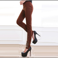 2013 women's big Size elastic rhinestones repair all-match pants Ladies basic pants size XL to XXXL for your chioce