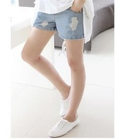 2013 summer maternity clothing belly pants shorts denim shorts 100% cotton knee-length maternity jeans pants