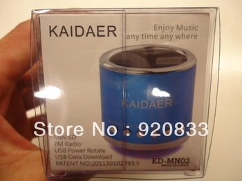 100PCS/LOT,Factory Supply,Kaidaer MN02 Speaker Mini Portable Speaker Support TF Card/U Disc With FM Function/TNT Freeshipping