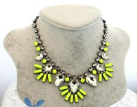 Exclusive ! 2013 New Trendy Fashion Gunmetal Neon Color Acrylic  Waterdrop Statement Necklace Big Charm Jewelry  KK-SC157 Retail