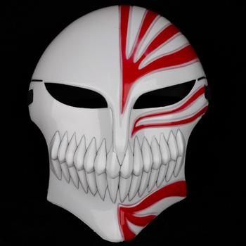 Wholesale Bleach cosplay Kurosaki Ichigo bankai Full Hollow party Masks Red in White 10pcs/Lot Free shipping Free shipping