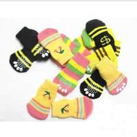On sale! 10sets/lot dog cat pet shoes socks 4pcs/set #9224