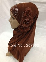 Muslim long Shawel with inner Cap Silk shawel new design islamic scarves Accept 2013-4-19-4