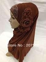 Muslim long Shawel with inner Cap Silk shawel new design islamic scarves Accept 2013-4-19-4