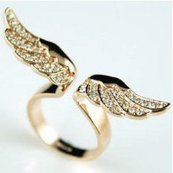 Min.order is $10(mix order) Unique Punk Gothic Angel Wings Ring Free Shipping(China (Mainland))