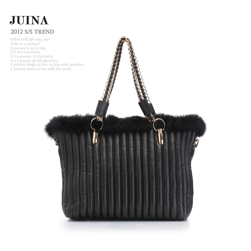 fashion vintage natural rabbit furpersonality chain shoulder women's bags(China (Mainland))