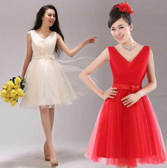 Sweet princess wedding dress formal dress deep V-neck wedding dress short design bride and bridesmaids married dinner party(China (Mainland))