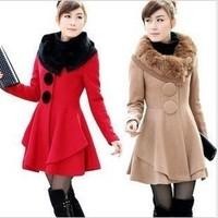 2012 spring fashion big buttons rabbit fur wool coat outerwear wool coat large