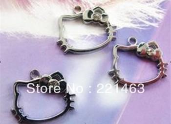 wholesale 100pcs/lot Hello Kitty Hang Pendant Charm stuff: Zinc alloy fit necklace cell phone charms