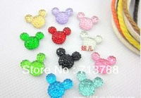 Free shipping flat back resin Mickey Mouse for phone decoration 100pcs/lot(each color10pcs)