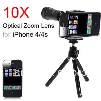 10X Optical Zoom Telescope Camera Lens + Tripod for iPhone 4 4S