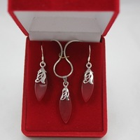 Fashion Jewelry 18k White Gold GP Red Ruby Leaves Necklace Earring Set