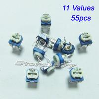Variable Resistor Assorted Kit 11 values 55pcs potentiometers VR001