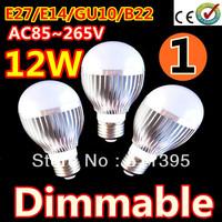 1pcs/lot Retail Dimmable Bubble Ball Bulb AC85-265V 12W E14 E27 B22 GU10 High power Globe light LED Light Free shippng