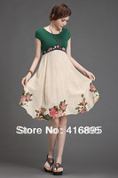 2014 Retro Vintage Victorian Sexy Knee-lengt Embroidery Flower Dresses for Women Asian Size S M L  XL ZJH03