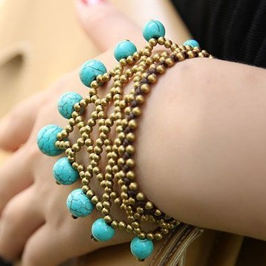 National trend bracelet turquoise copper beads knitted wax string bracelet shoulian(China (Mainland))