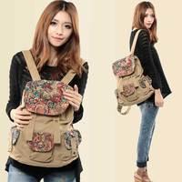 2014 women's bag fashion national trend vintage print canvas backpack travel school bag