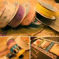 min. order is $10(mix order) F1081 diy photo album lace tape cutout lace tape stickers 8g
