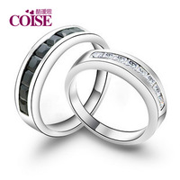 Free shipping Coise 925 pure silver lovers ring female ring male fashion accessories black and white