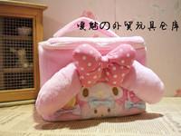 My melody polka dot bow plush semiportable storage bag cosmetic bag