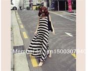 2013 Summer  new design maternity  Ankle length A-line dress /black and white striped  design vest skirt  for pregant  women