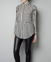 FREE SHIPPING women's White and Black Striped Casual Chiffon Shirts, fashion women blouses S M L