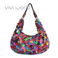 Free shipping, Bohemia colorful genuine sheepskin leather flower petals mosaic rivet women's messenger bag/ totes/ bolsas