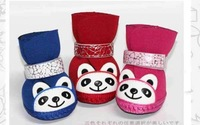 Pet Booties Dog Panda Soft Sole Shoes Puppy Cat Shoes Dog Boots 3 Sizes 3Colors Free Shipping #9242