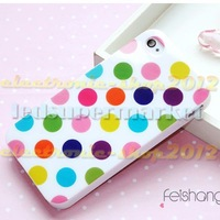 White Color Background with Colorful Dots Silicone Phone Case for I phone 5+Screen Protector Film