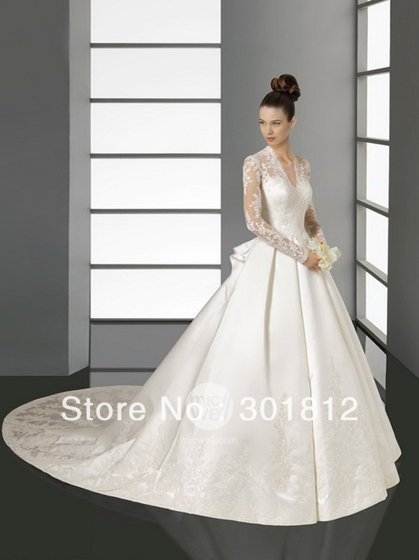 Refined Long Sleeves V-neck Satin Lace Chapel Train Appliques on Wedding Gown Buy Online (WDWD-016)(China (Mainland))
