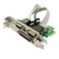 Combo 2-port DB-9 Serial (RS-232) and 1-port DB-25 Parallel Printer (LPT1) PCI-e Controller Card, Support Low Profile Bracket