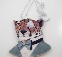Rosgd005 Goods in stock wood single eye leopard head pendant charming Al chain necklace animal necklace free shipping