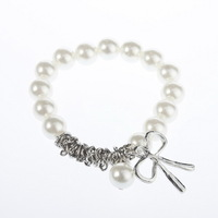10 pcs/lot New Fashion Exquisite Cute Lovely Charm Imitation Pearl Bowknot Bangle